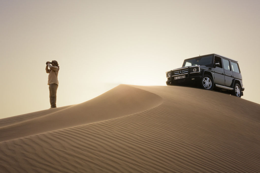 Mercedes G-Wagon no safari luxo deserto Dubai
